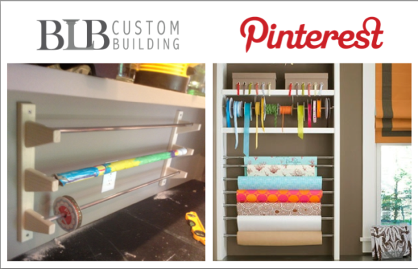 A crafter's dream come true. BLB Custom Building installed this custom designed ribbon and wrapping paper dispenser into a the pantry.